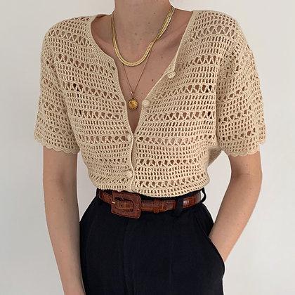 Vintage Cream Crochet Knit Buttoned Top