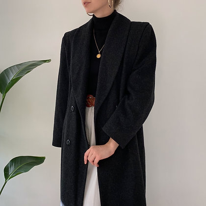 Vintage Charcoal Wool Double-Breasted Long Overcoat