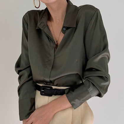Vintage Olive Liquid Silk Button Up Blouse