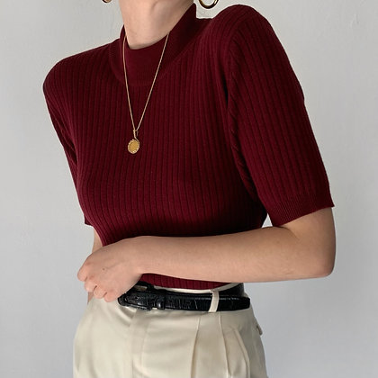 Vintage Merlot Ribbed Knit Mock Neck Shirt