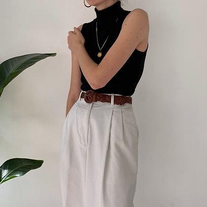 Vintage Light Khaki High-Waisted Trousers (26W)