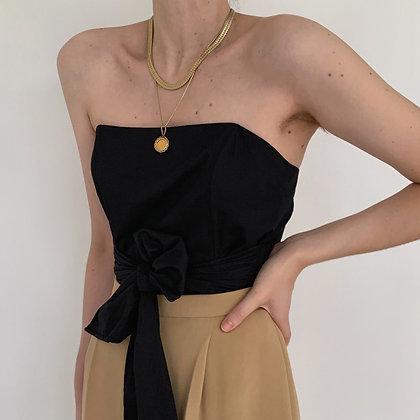 Vintage Noir Strapless Bustier Style Tie Top