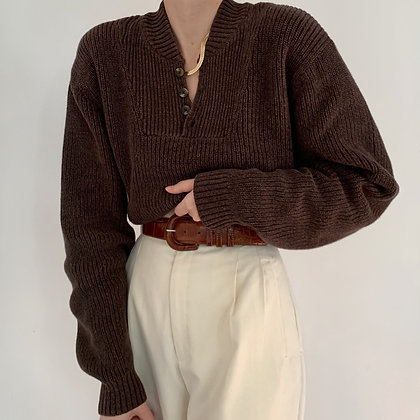 Vintage Cocoa Knit Henley Sweater