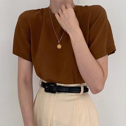 Minimalist Vintage Cinnamon Silk Blouse