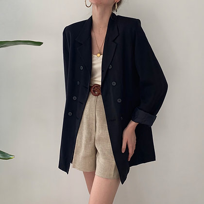 Vintage Onyx Silk Double-Breasted Blazer