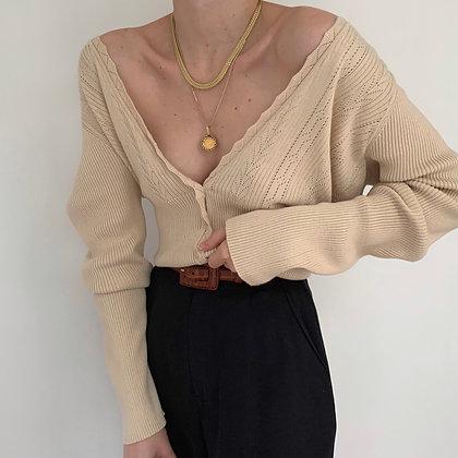 Vintage Sand Pointelle Knit Cardigan