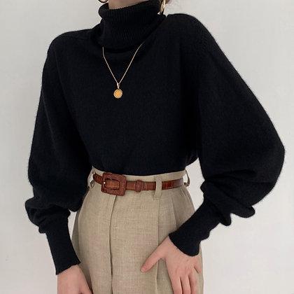 Vintage Noir Bishop Sleeve Turtleneck