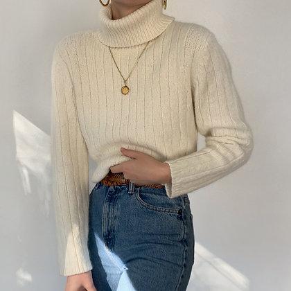 Vintage Vanilla Angora Knit Turtleneck Sweater