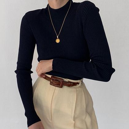 Vintage Midnight Silk Ribbed Knit Mock Neck