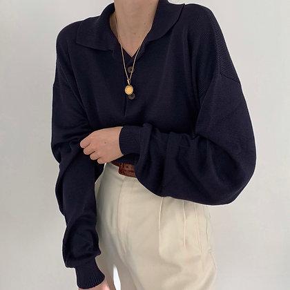 Vintage Midnight Silk Knit Long Sleeve Polo