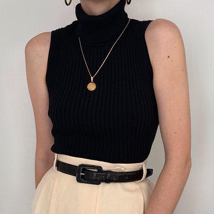 Vintage Black Ribbed Sleeveless Turtleneck