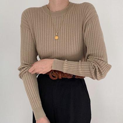 Vintage Sand Silk Blend Ribbed Knit