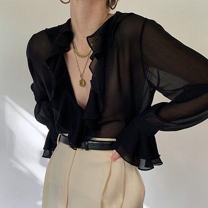 Vintage Noir Silk Semi-Sheer Ruffled Blouse