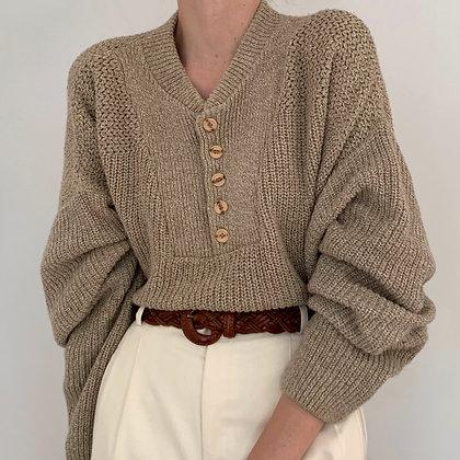 Vintage Oatmeal Henley Knit Sweater