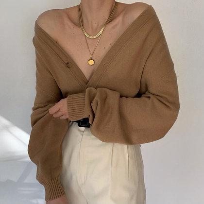 Vintage Camel Knit Pocketed Cardigan