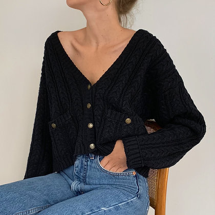 Favorite Vintage Navy Cropped Knit Sweater
