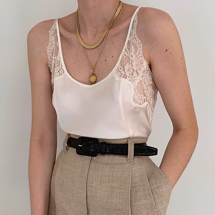 Vintage VS Pearl Satin Lacy Camisole