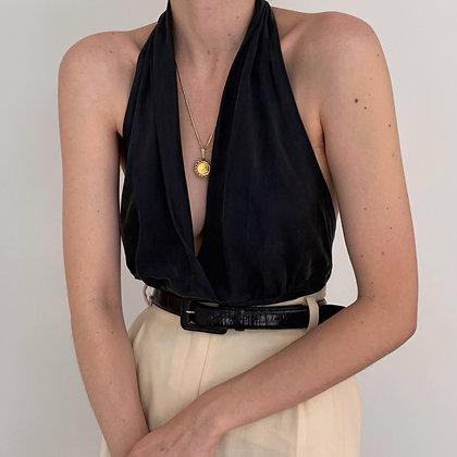 Vintage Onyx Silk Halter Blouse