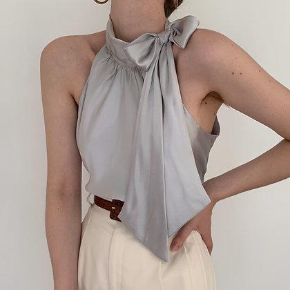 Vintage Silver Silk Charmeuse Neck Tie Top