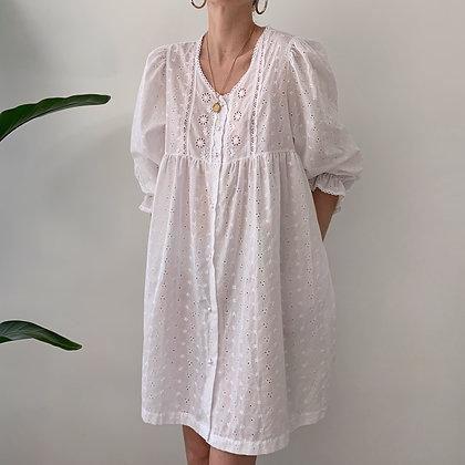 Vintage White Eyelet Prairie Dress