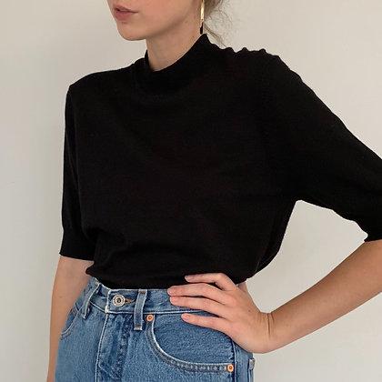 Vintage Minimalist Black Mock Neck Shirt