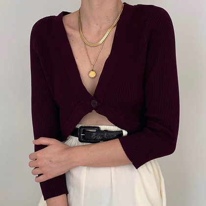 Vintage Plum Knit Crop Cardigan