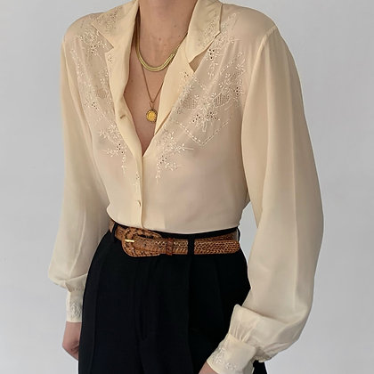 Deadstock Vintage Ivory Silk Embroidered Blouse