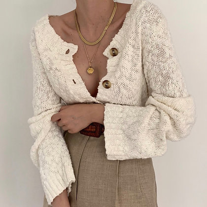 Vintage Cream Textured Knit Cardigan