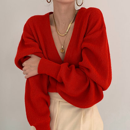 Vintage Poppy Red Knit Cardigan