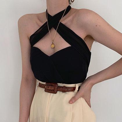 Favorite Vintage Noir Silk Versatile Tie Top