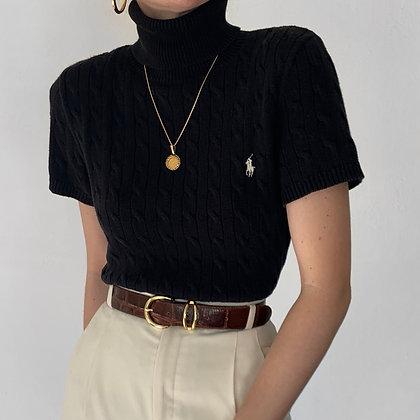 Vintage Ralph Lauren Noir Cable Knit Turtleneck