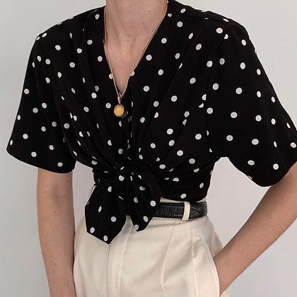 Vintage Polka Dot Buttoned Blouse