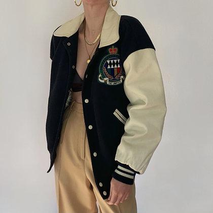 Vintage Noir and Creme Crest Varsity Jacket