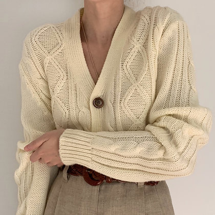 Vintage Ivory Cable Knit Cardigan