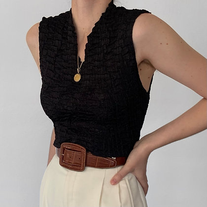 Favorite Vintage Noir High Neck Textured Top