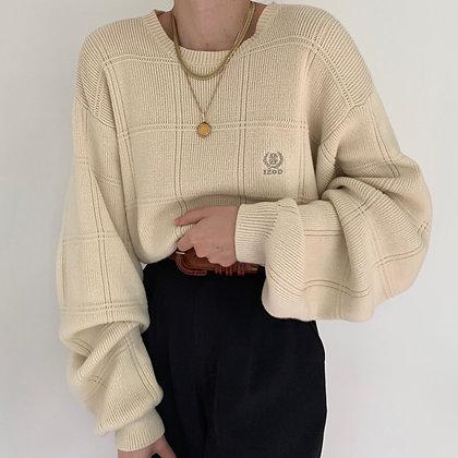 Vintage Izod Ivory Grid Knit Sweater