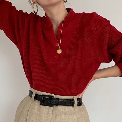 Vintage Cherry Red Henley Sweater