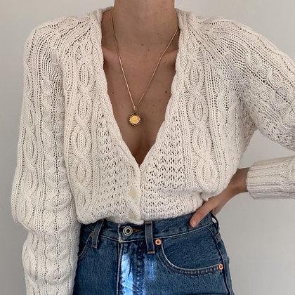 Vintage White Chunky Knit Cardigan