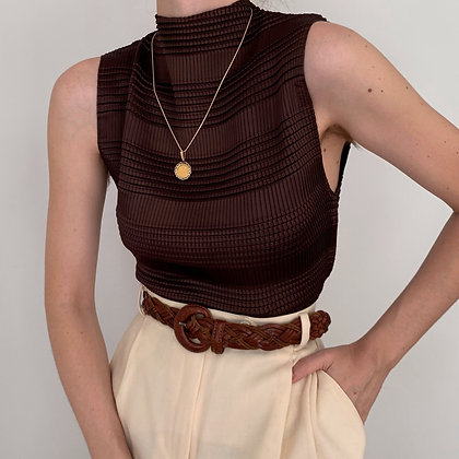 Vintage Chocolate Textured Sleeveless Top