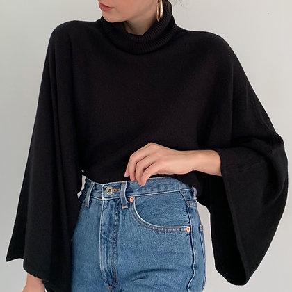 Vintage Black Kimono Sleeved Turtleneck