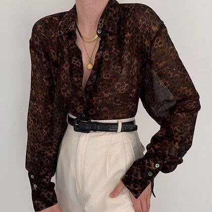 Vintage Leopard Print Silk Semi-Sheer Blouse
