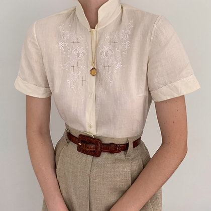 Vintage Ivory Embroidered Blouse