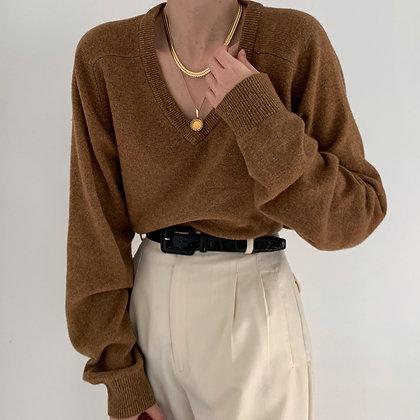 Vintage Nutmeg Wool V-Neck Knit Sweater