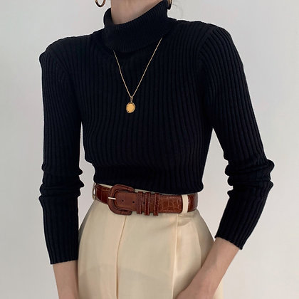 Vintage Onyx Ribbed Knit Turtleneck