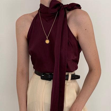 Vintage Aubergine Silk Neck Tie Top