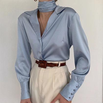 Vintage Sky Silk Bishop Sleeved Blouse