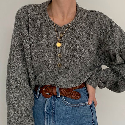 Vintage Heather Gray Henley Sweater