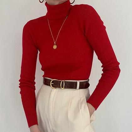 Vintage Ralph Lauren Cherry Ribbed Turtleneck