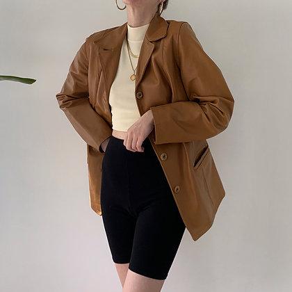 Vintage Caramel Leather Blazer Jacket