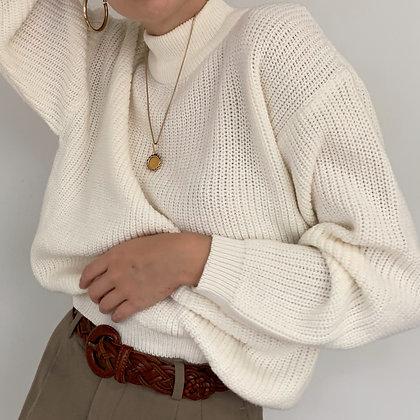 Vintage Ivory Knit Mock Neck Sweater